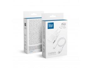 Cestovní Nabíječka Blue Star do sítě s odnímatelným USB->Lightning kabelem pro iPhone 5/6/7/8/X - bílá