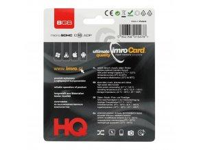 IMRO micro SDHC 8GB Class 10 + adaptér SD (Blister)