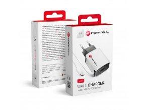 Forcell univerzální nabíječka 2A s kabelem microUSB a portem USB