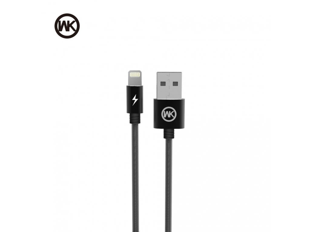 101712 3 kabel wk design monkey usb lightning metalicky cerny
