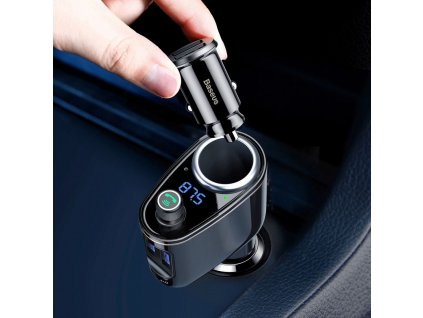 134915 3 baseus fm bluetooth transmitter mp3 locomotive s nabijeckou do auta 2 x usb 3 4a cerna