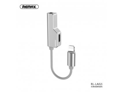 134477 remax adapter audo hf pro apple lightning lightning aux jack 3 5mm stribrny