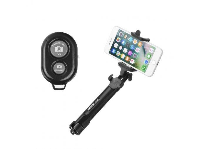 Selfie tyč / držák s dálkovým ovládáním stativ bluetooth - černá