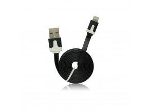 Forcell Datový kabel pro Apple iPhone 5/5C/5S/iPad Mini, plochý - černý