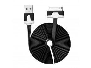 Kabel USB plochý 2 metry Apple Iphone 3G/3Gs/4/iPad/iPod černý