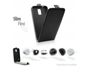 Pouzdro Slim Flip FLEXI Microsoft Lumia 550 - černé