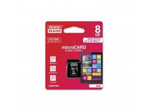 Paměťová karta GOODRAM microSD 8GB CLASS 10 UHS I z adapterem SD