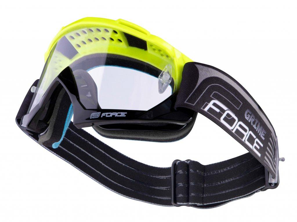 Sjezdové brýle Force GRIME, černo-fluo