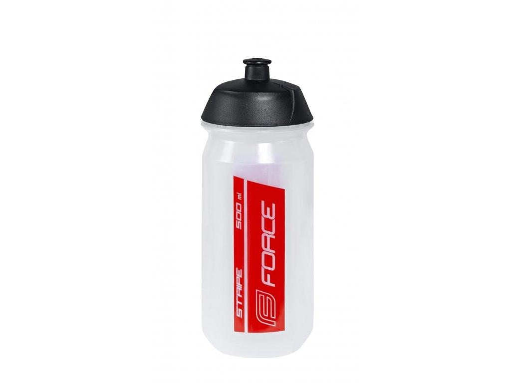 Láhev FORCE STRIPE 0,5 l, transparentní-červená