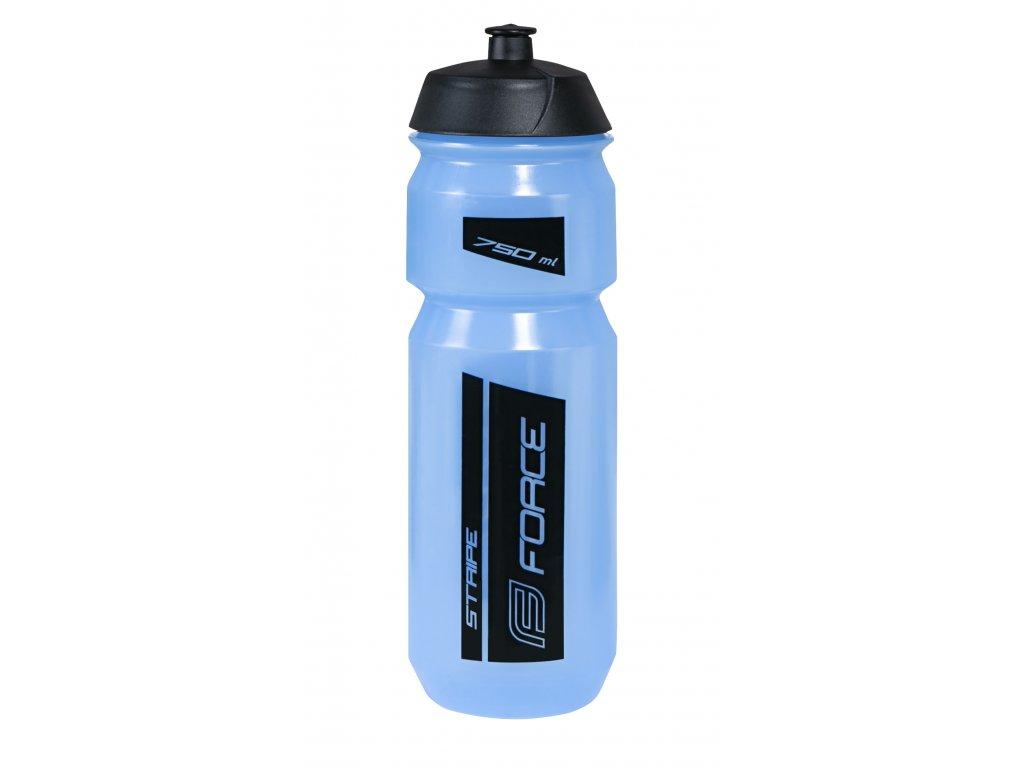 Láhev Force STRIPE 0,75 l, transpar.modrá-černá