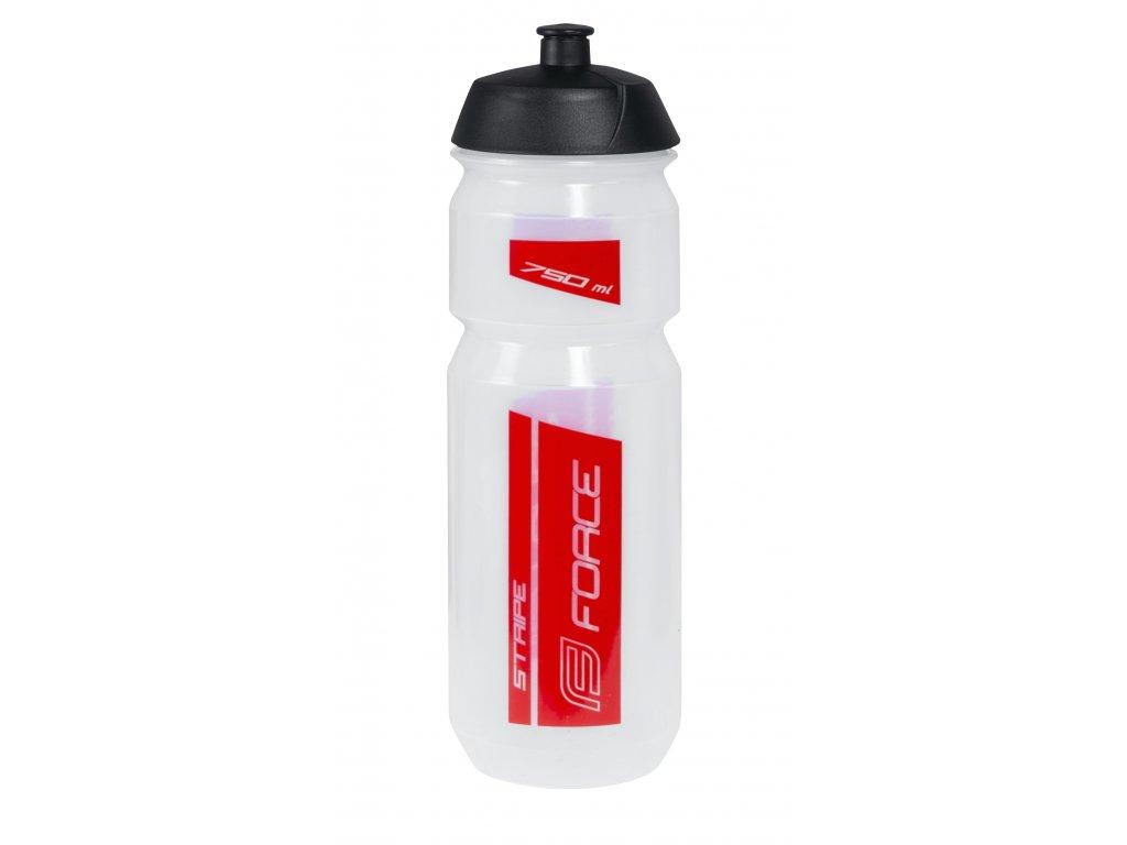 Láhev Force STRIPE 0,75 l, transparentní-červená