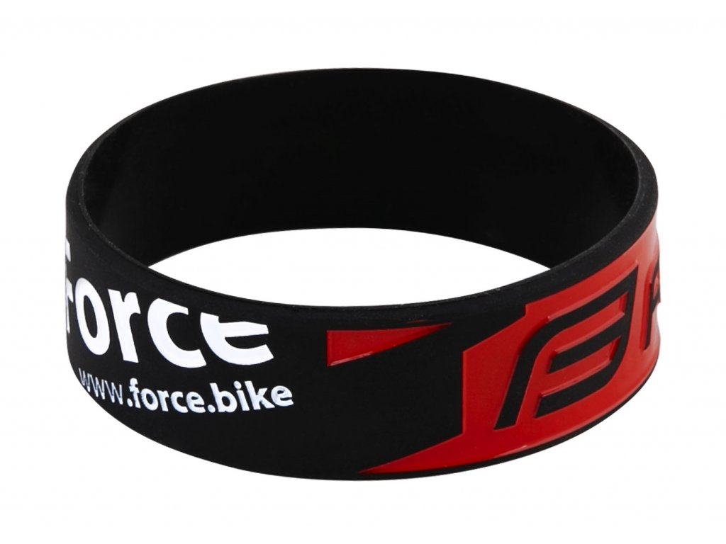 Náramek silikonový FORCE, černo-červený-20 cm