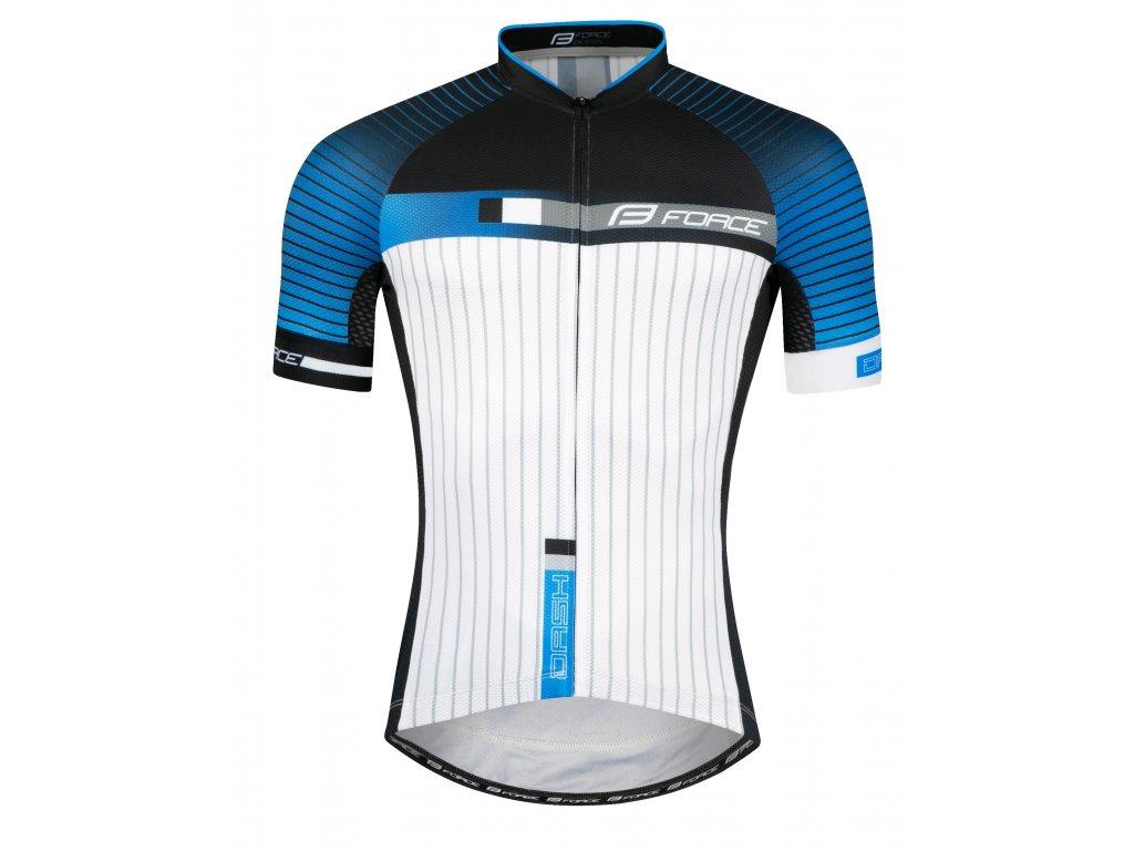 Pánský cyklistický dres Force DASH s krátkým rukávem, modro-černo-bílý