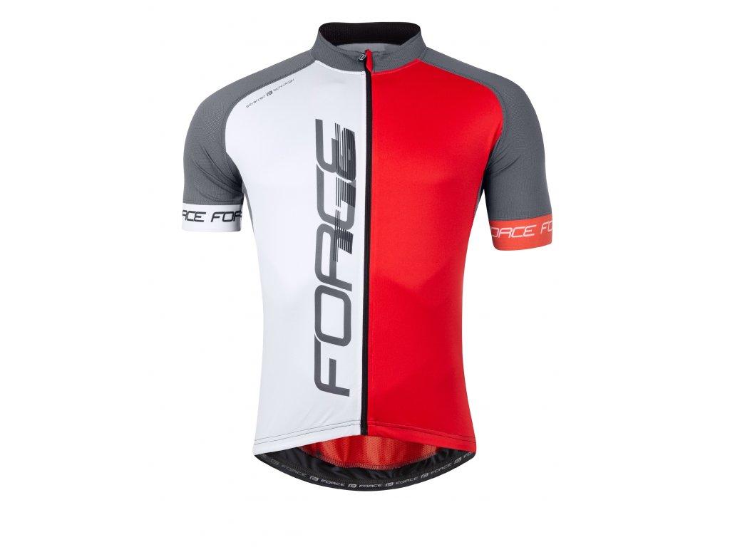 Pánský cyklistický dres Force T16 s krátkým rukávem, černo-šedo-červený
