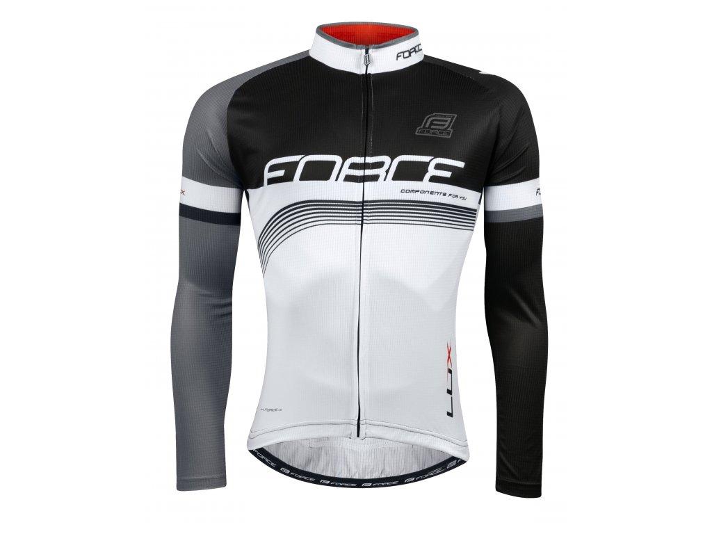 Pánský cyklistický dres Force LUX s dlouhým rukávem, černo-bílý