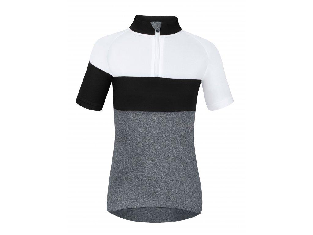Dětský cyklistický dres Force KID VIEW s krátkým rukávem, šedo-bílo-černý