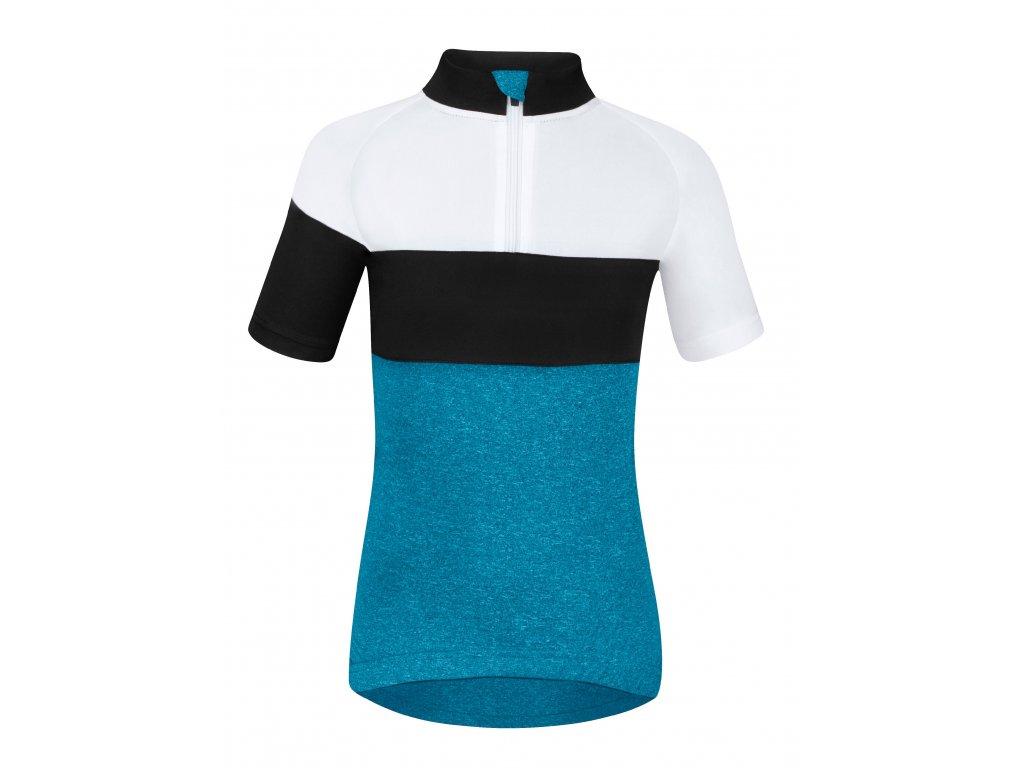 Dětský cyklistický dres Force KID VIEW s krátkým rukávem, modro-bílo-černý