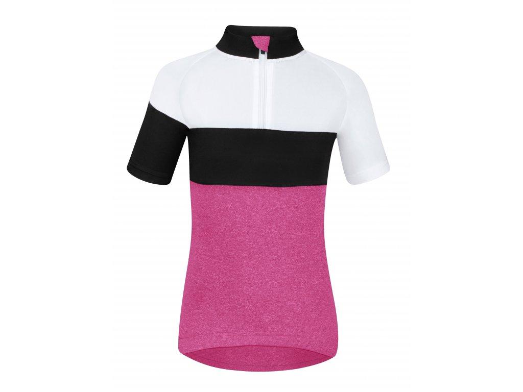 Dětský cyklistický dres Force KID VIEW s krátkým rukávem, růžovo-bílo-černý