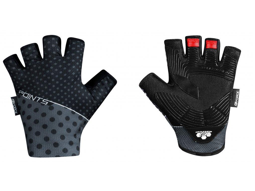 rukavice Force POINTS bez zapínání, černo-šedé