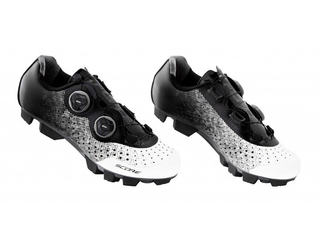 Cyklistické MTB tretry Force SCORE, bílo-černé