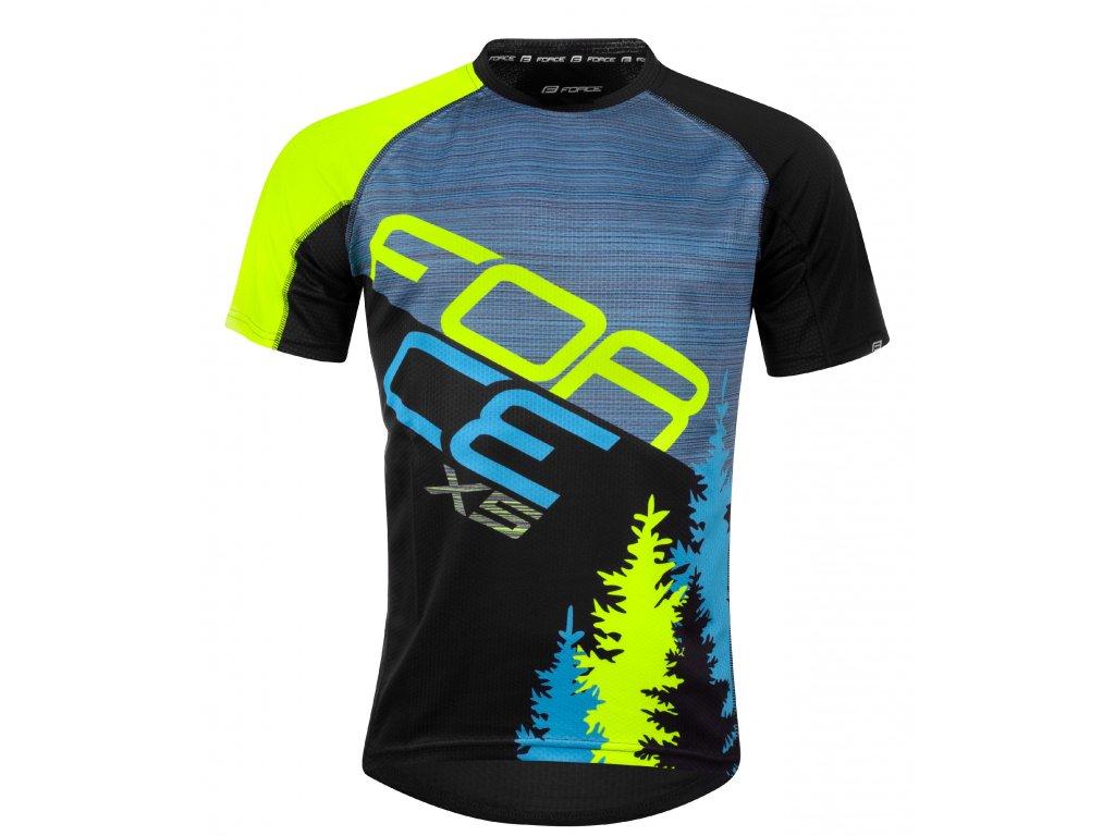 Pánský cyklistický dres Force MTB X5 s krátkým rukávem, modro-fluo