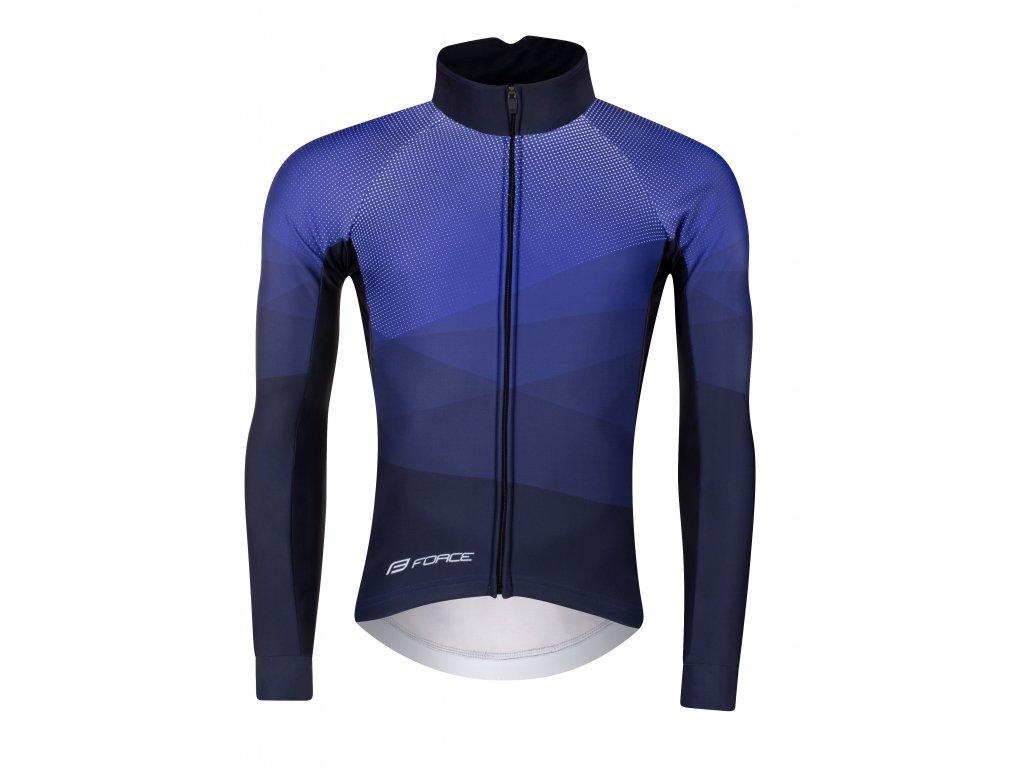 Zimní cyklistická bunda Force BRISK, modro-bílá