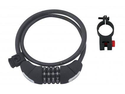 Zámek F LUX spirálový kódový 85cm/10mm+držák, črn.