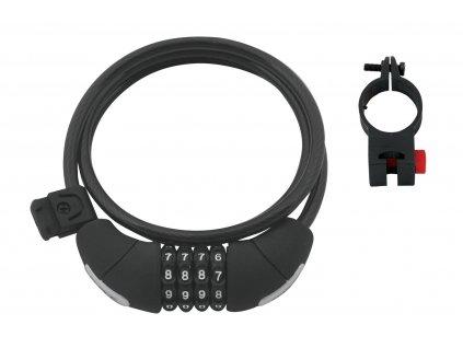 Zámek Force LUX spirálový kódový 120cm/8mm+držák, črn.