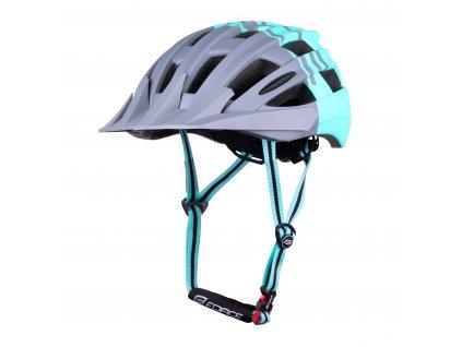 Cyklistická helma Force CORELLA MTB, šedo-tyrkysová