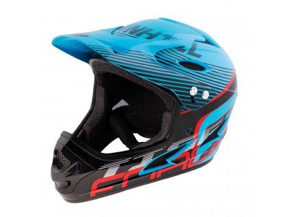 Cyklistická helma Force TIGER downhill, modro-černo-červ.
