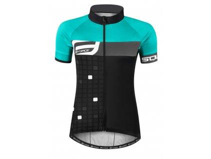 Dámský cyklistický dres Force SQUARE s krátkým rukávem, černo-tyrkysový