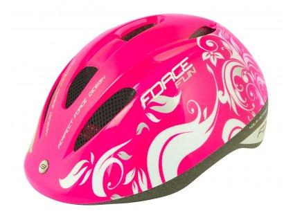 Dětská cyklistická helma Force FUN FLOWERS, růž-bílo-šedá