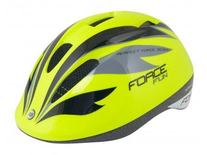 Dětská cyklistická helma Force FUN STRIPES, fluo-černo-šedá