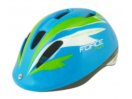 Dětská cyklistická helma Force FUN STRIPES, modro-zel-bílá