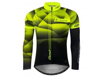 Pánský cyklistický dres Force BEST s dlouhým rukávem, fluo-černý