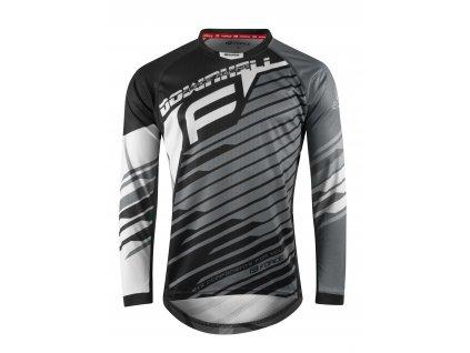Pánský cyklistický dres Force DOWNHILL s dlouhým rukávem, černo-bílo-šedý