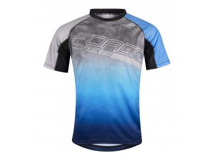 Pánský cyklistický dres Force MTB CORE s krátkým rukávem, šedo-modrý