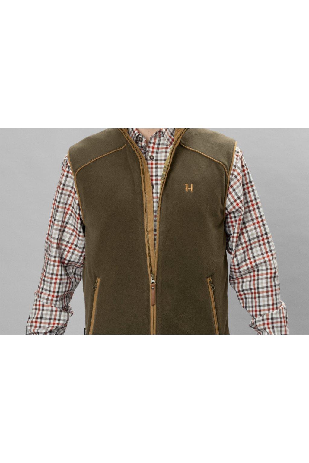 HÄRKILA -Sandhem fleece vesta pánská (Willow green melange)