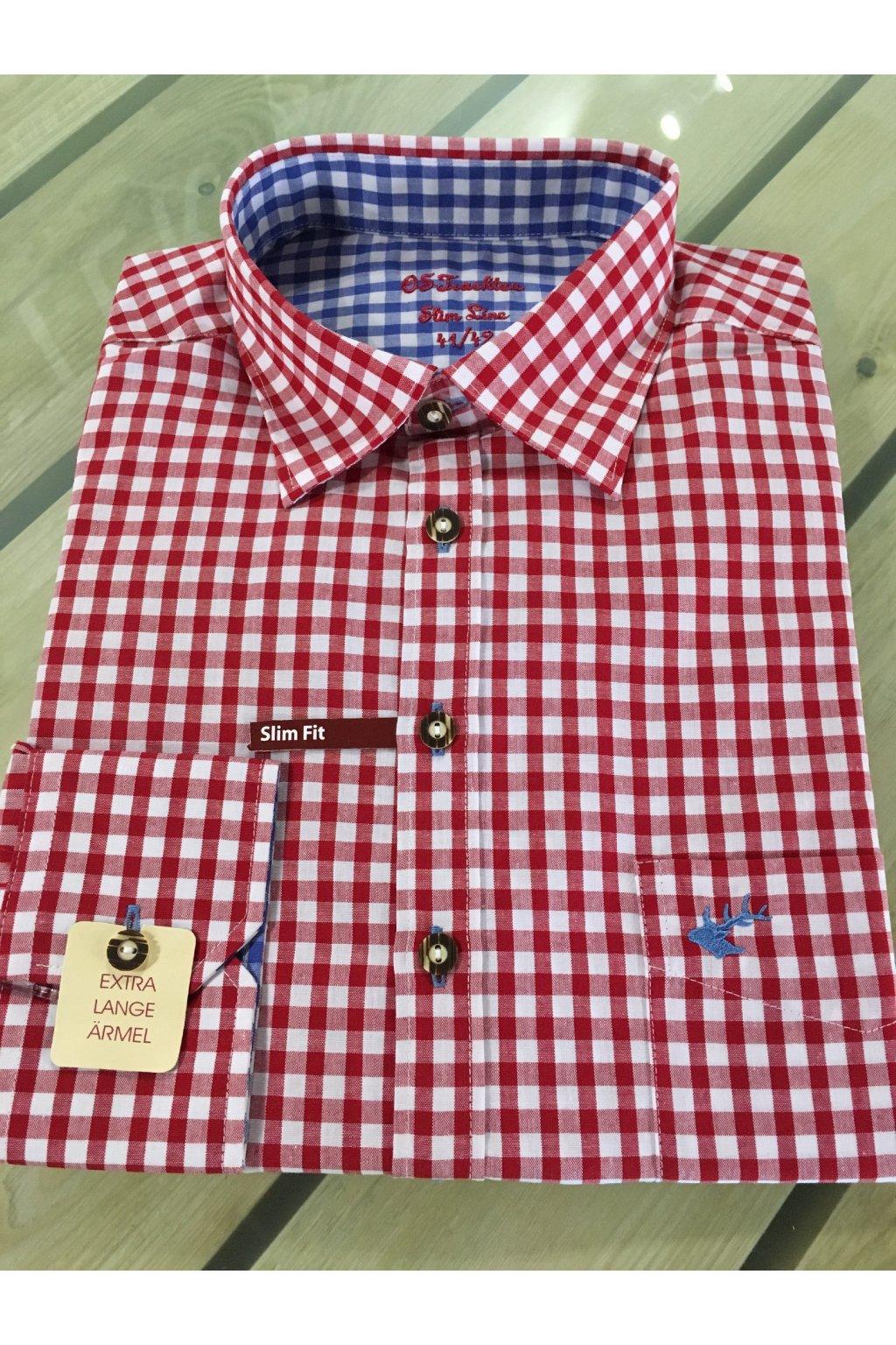 Košile pánská červená modrý jelen Slim Fit 2602