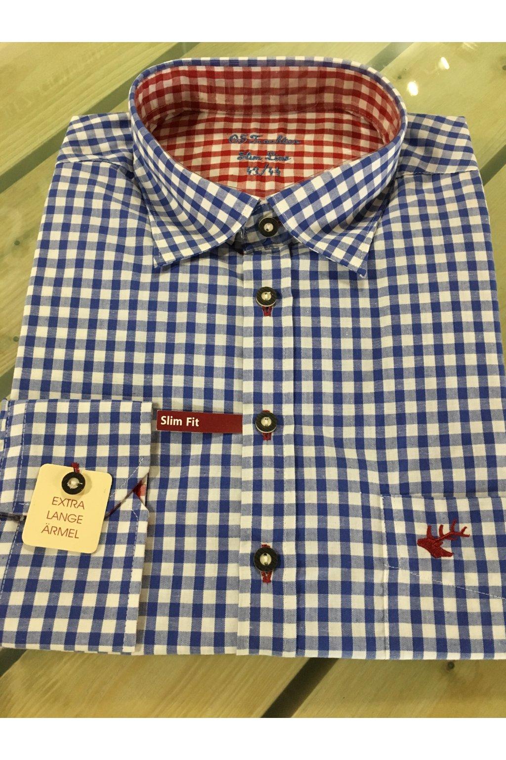 Košile pánská modrá červený jelen Slim Fit 2602