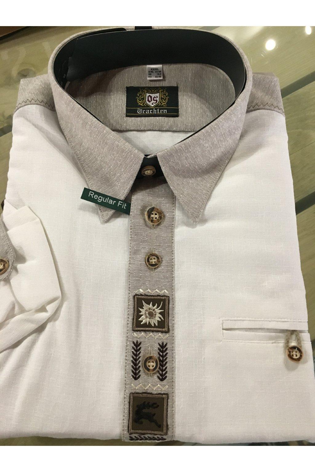 Košile pánská bílá - jemné zdobení,kůže