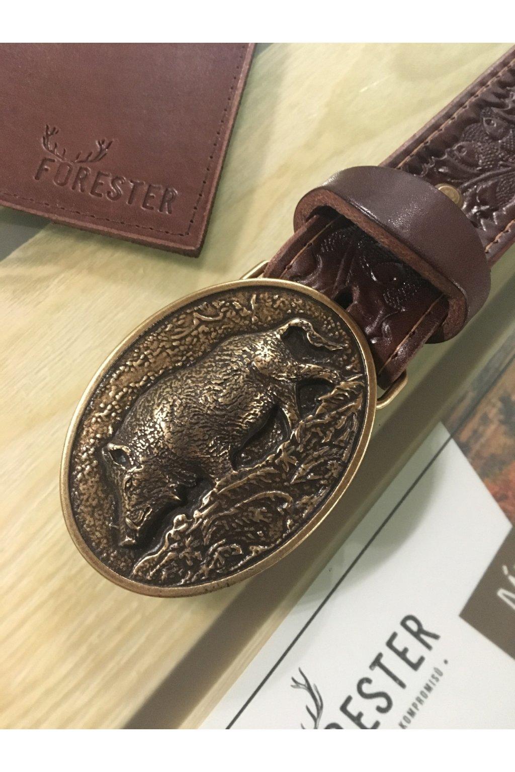Kožený opasek - široký 4cm zdobený,spona divočák