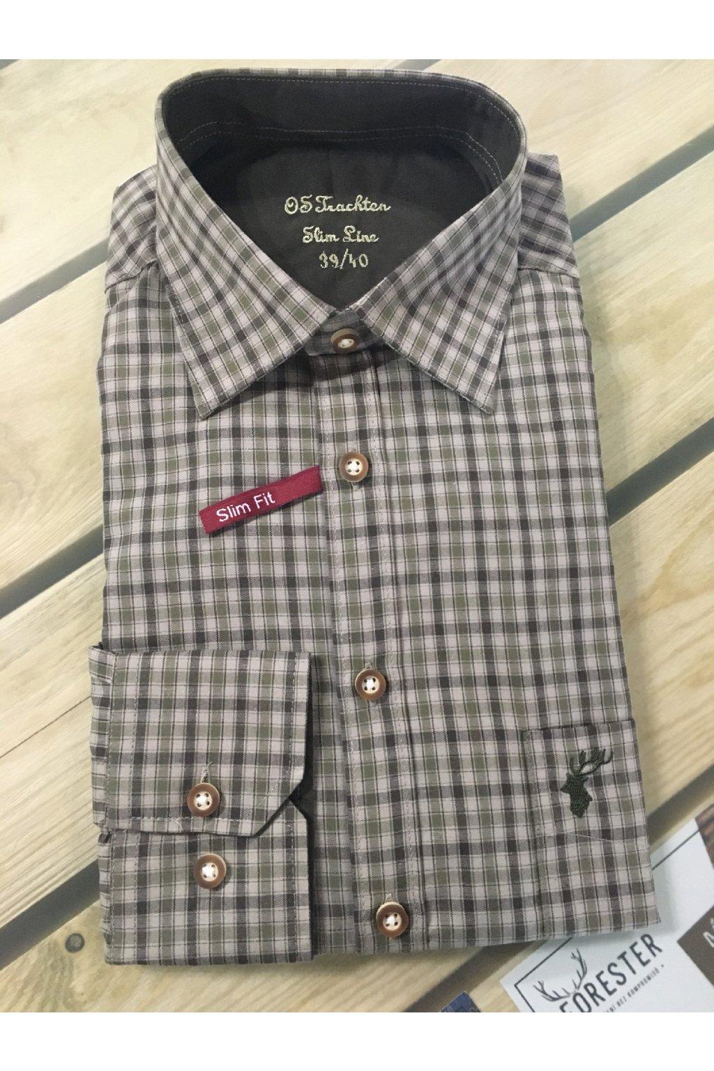 Košile pánská Slim Fit Olive 3000