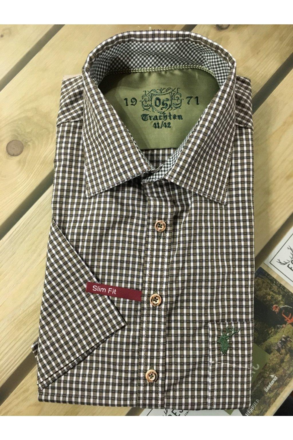 Košile pánská Slim Fit kr.rukáv oliv/bílá