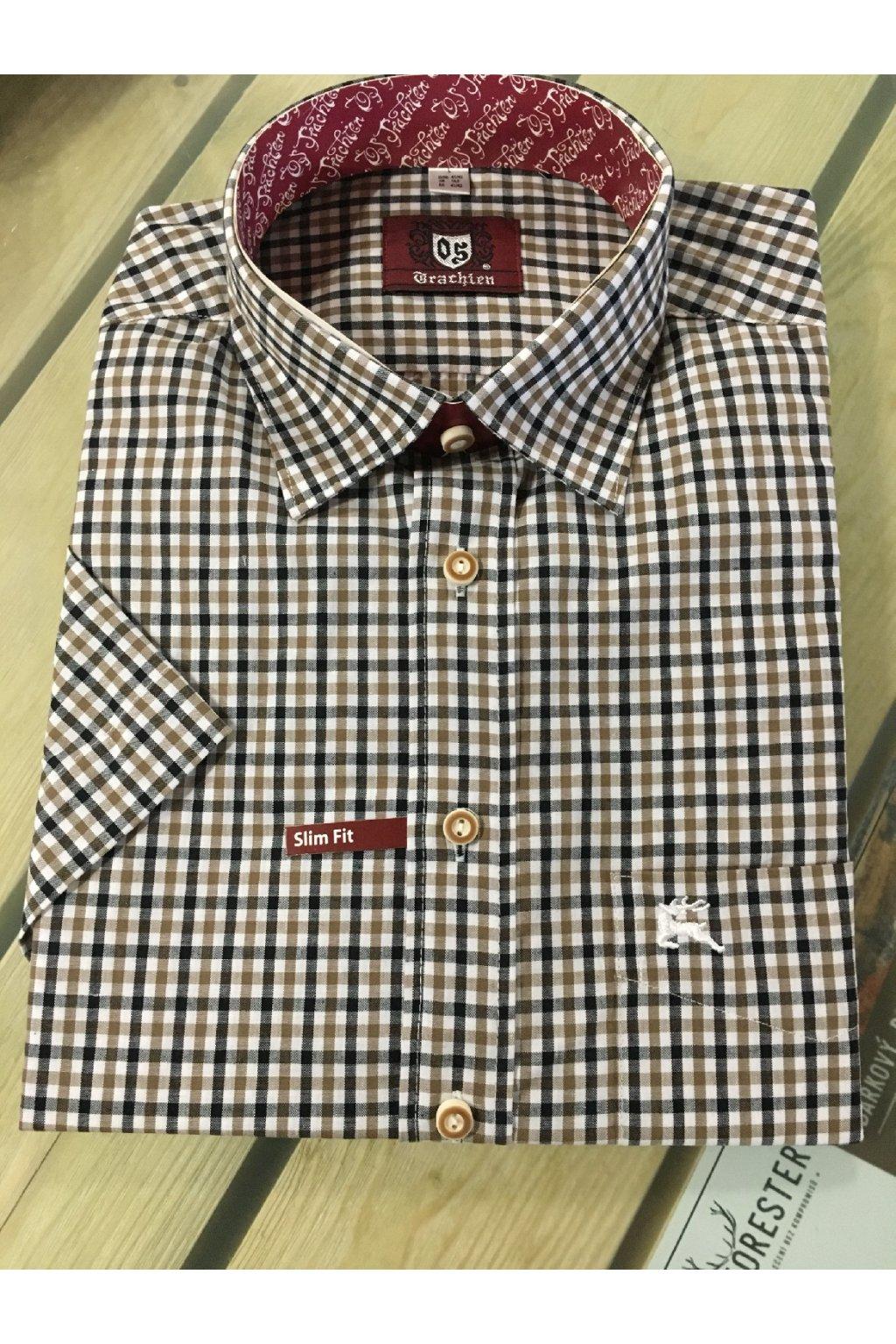 Košile pánská krátký rukáv hnědá Slim Fit