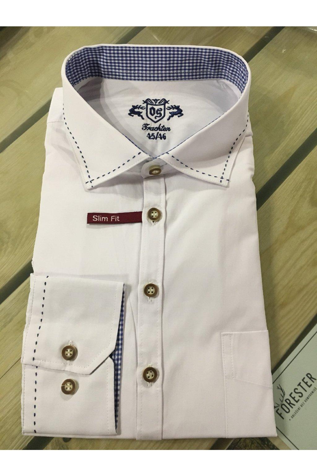 ORBIS - košile pánská bílá modrý prošívaný límec Slim Fit (3168)