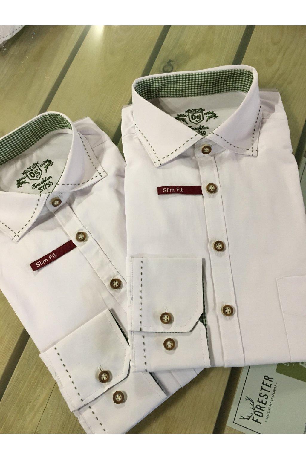 ORBIS - košile pánská bílá zelený prošívaný límec Slim Fit 3168