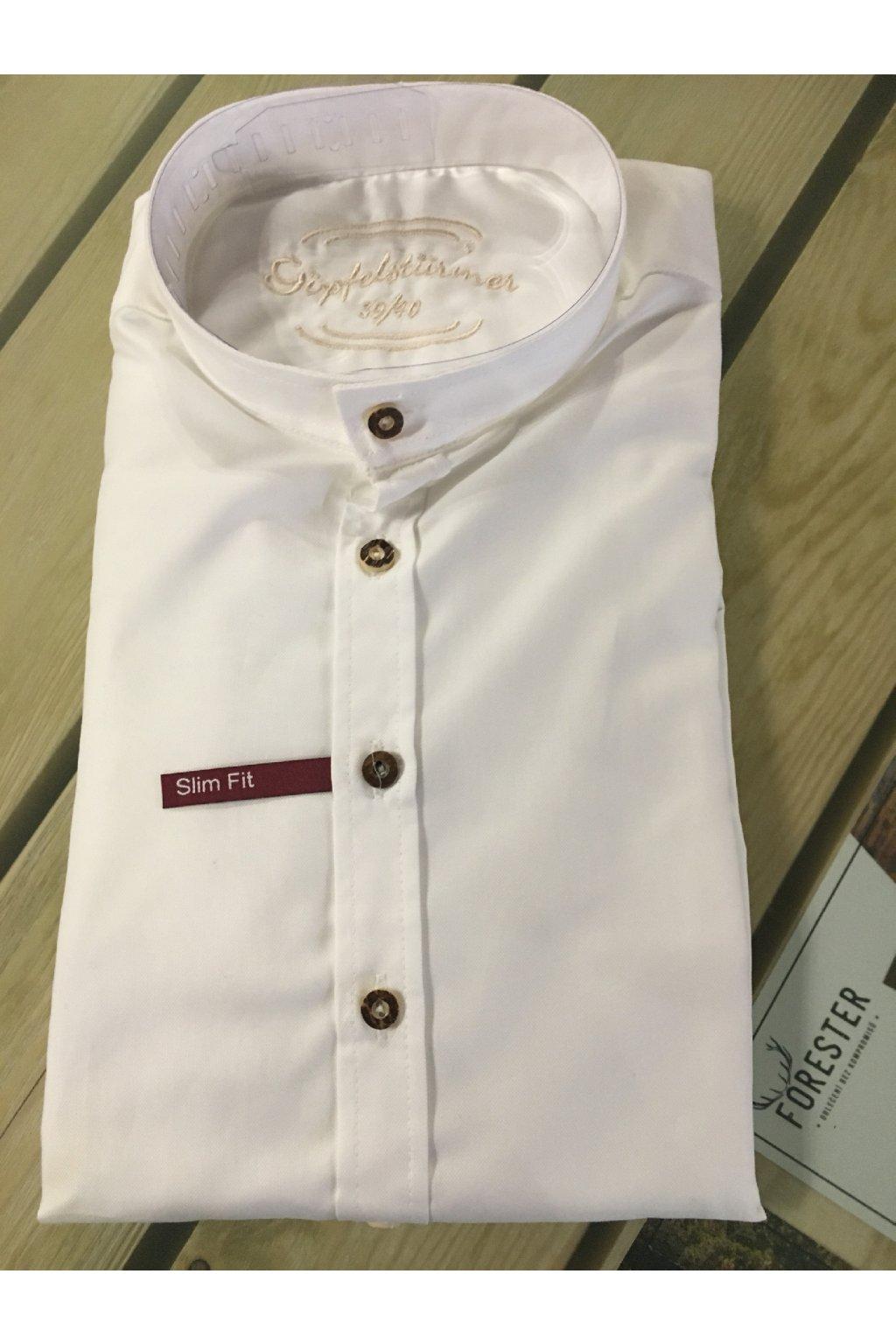 Košile pánská bílá se stojáčkem Slim Fit