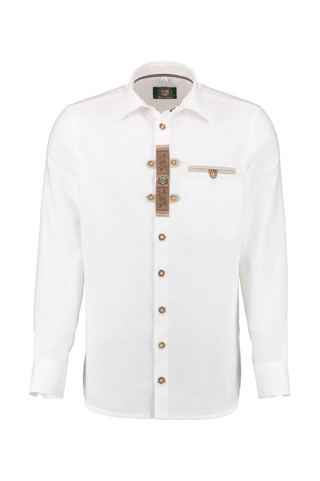 ORBIS - bílá pánská košile Slim Fit, dlouhý rukáv (1011)