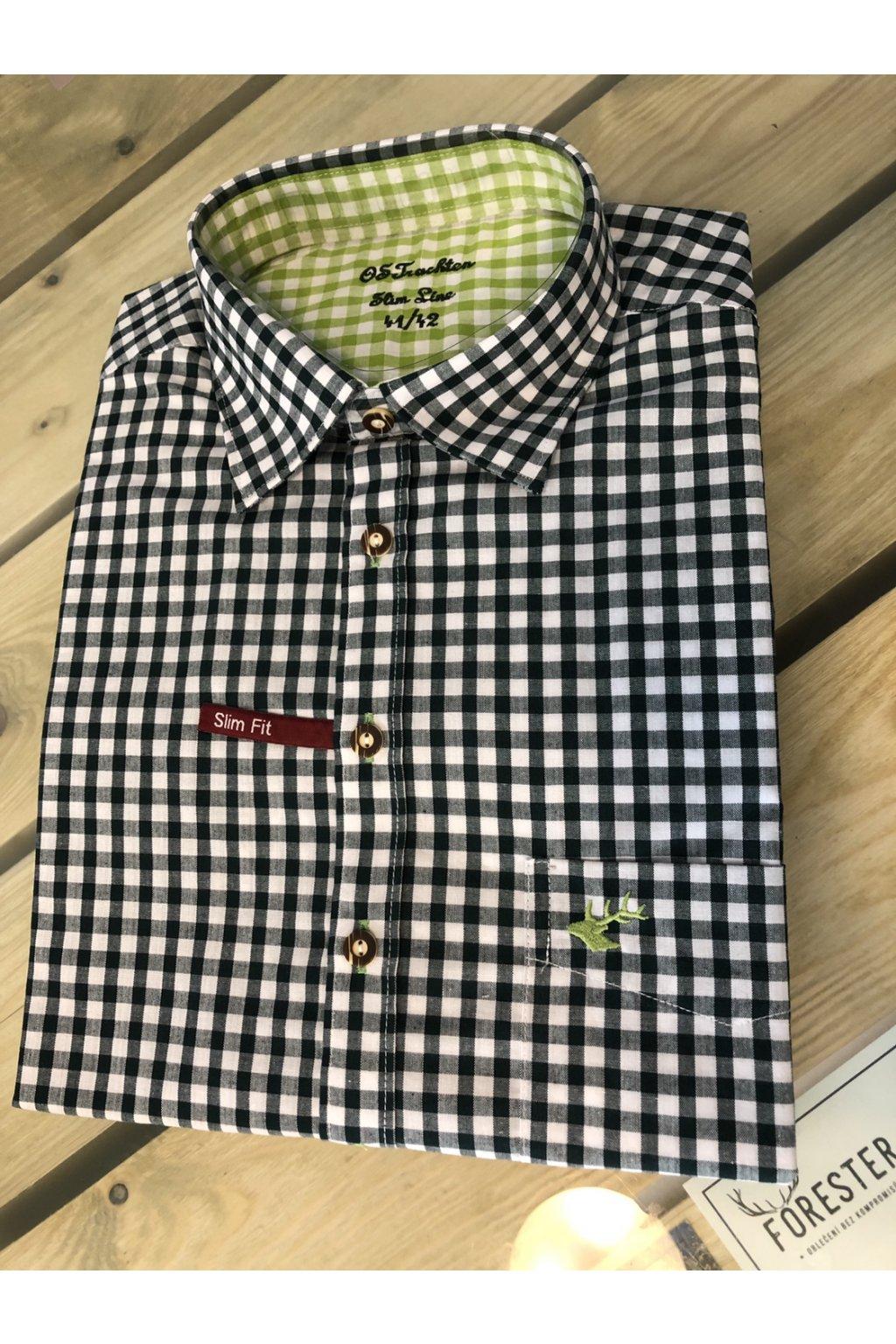Košile pánská zelená zelený jelen Slim Fit (2602)